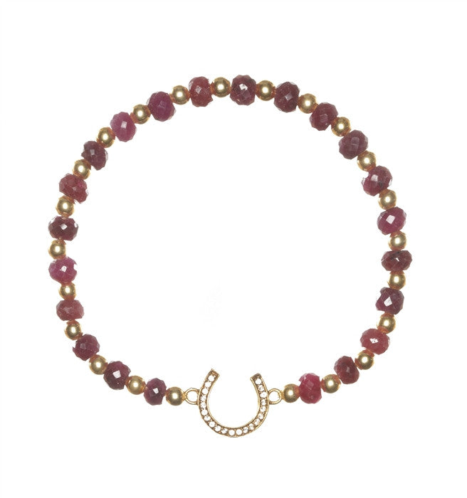 Precious Ruby with Horseshoe Sacred Charm Bracelet