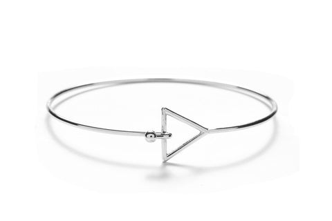 Triangle with Silver Overlay Silver Geometric Bangles