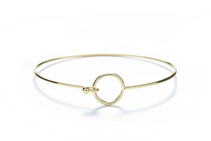 Circle with 18k Gold Overlay Geometric Bangles