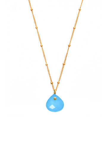 Aqua Chalcedony Simplicity Rocks Necklace