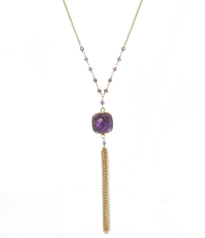 Amethyst Talulah Long Chain Tassel Necklace