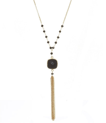 Black Spinel Talulah Long Chain Tassel Necklace