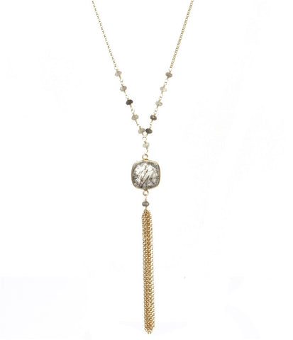 Tourmalated Quartz Talulah Long Chain Tassel Necklace