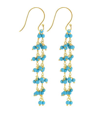 Aqua Turquoise Beaded Vision Gemstone Earrings