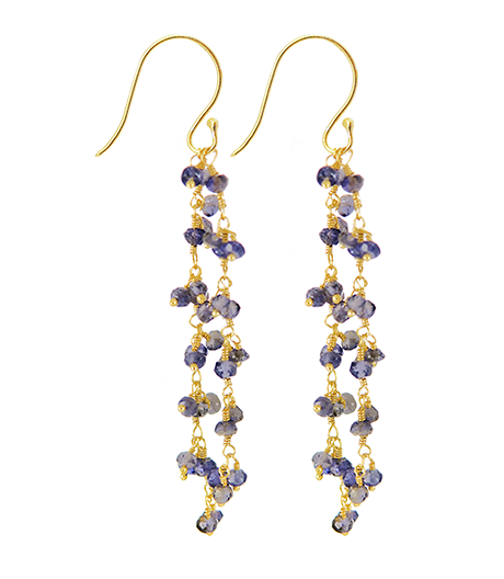 Iolite Beaded Vision Gemstone Earrings