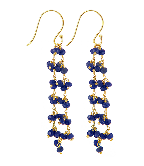 Sapphire Beaded Vision Gemstone Earrings