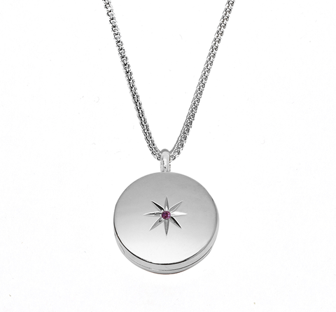 Silver Stellar Locket Necklace