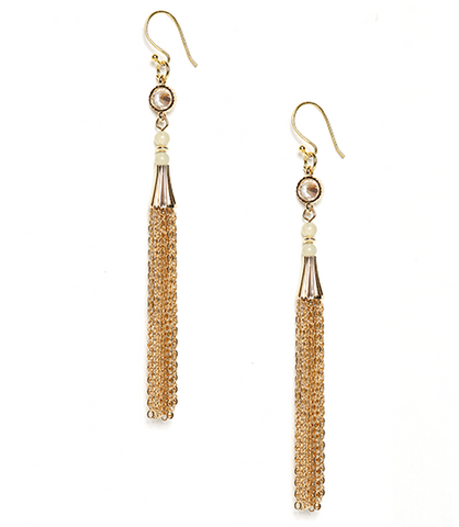 Jade Eva Crystal and Chain Tassel Earrings