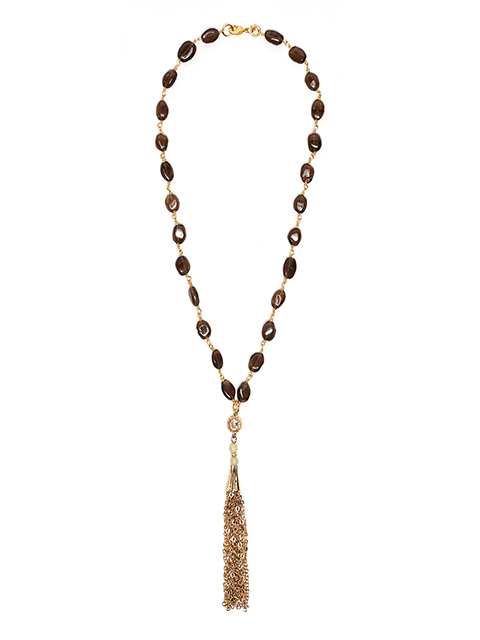 Smokey Quartz Eva Gemstone Chain Tassel Necklace