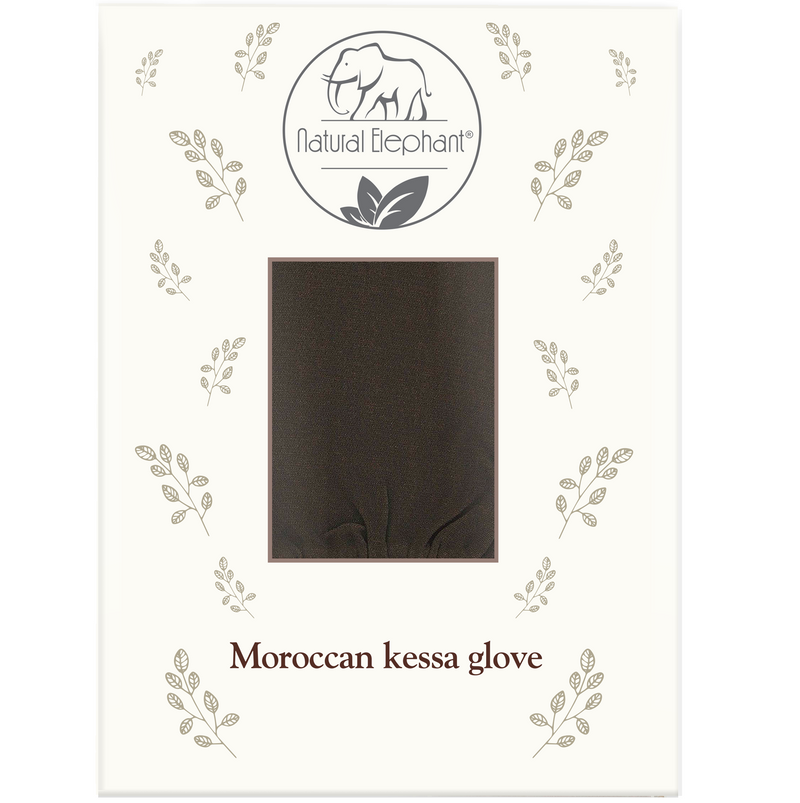 Premium Kessa Hammam Glove and Moroccan Black Soap with Eucalyptus Essential Oil 200g (7oz) Combo Spa Exfoliation Kit  (EST AVAILABLE 10/18/2020)