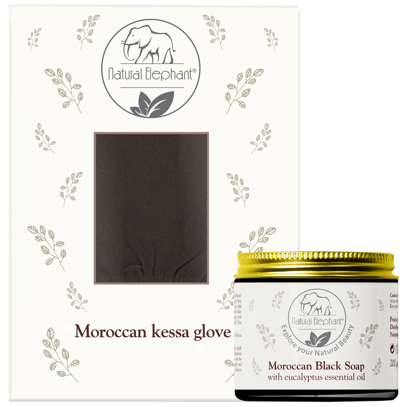 Premium Kessa Hammam Glove and Moroccan Black Soap with Eucalyptus Essential Oil 200g (7oz) Combo Spa Exfoliation Kit