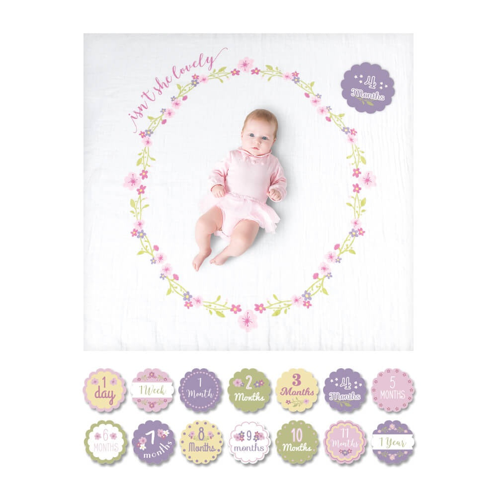 Couverture en mousseline + cartes Baby's First Year - Isn't she lovely?