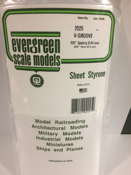 "Evergreen 12025 12 x 24"" Styrene Siding Sheet V-Groove .020"" Thick .025"" Spacing"