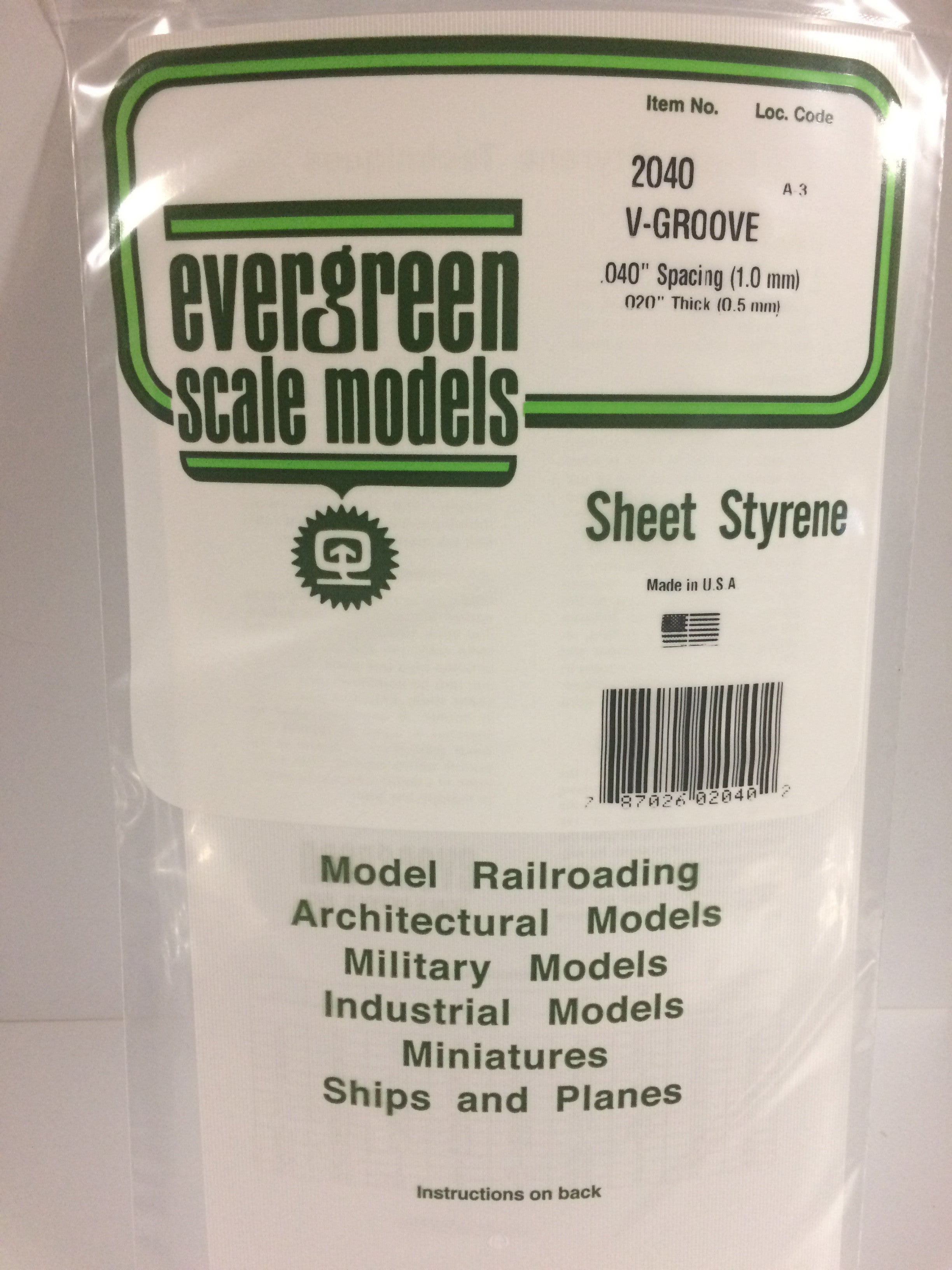 """V groove pattern-.080/"""" spacing 6/"""" by 12/"""" Evergreen styrene sheet .020/"""" thick"""