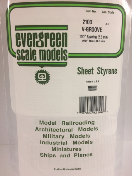 "Evergreen 12100 12 x 24"" Styrene Siding Sheet V-Groove .020"" Thick .100"" Spacing"