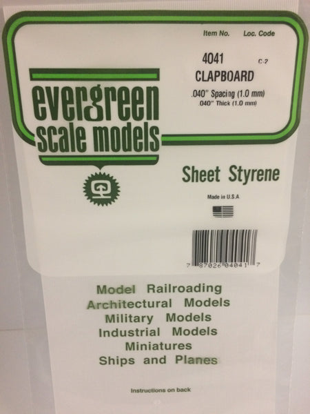 "Evergreen 14041 Styrene Siding Clapboard .040x12x24"" .040"" Spacing"