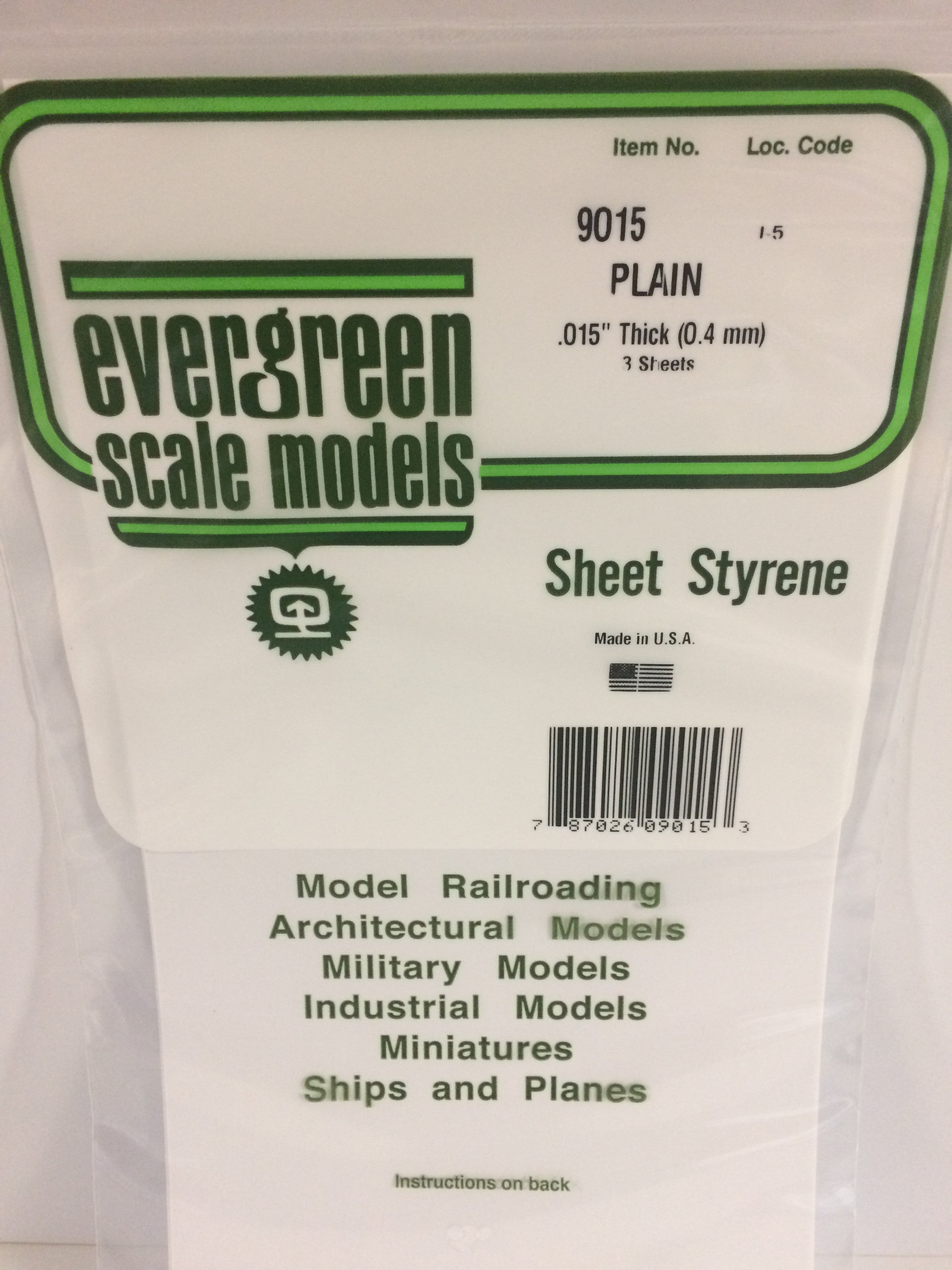 by Evergreen Scale Models 8 White Sheet .030 12 X 24