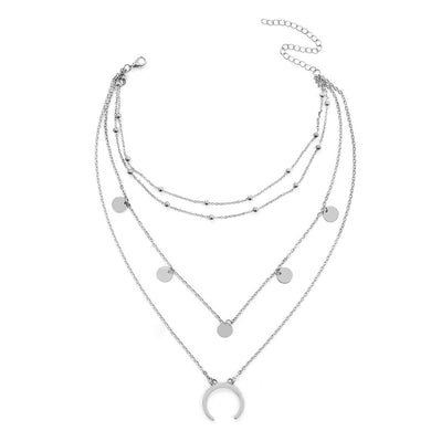 SUN MULTI LAYER NECKLACE (SILVER)