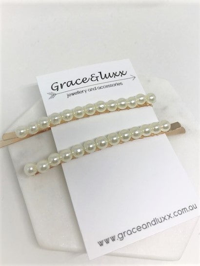 PEARL HAIR SLIDE PINS (SET OF TWO)