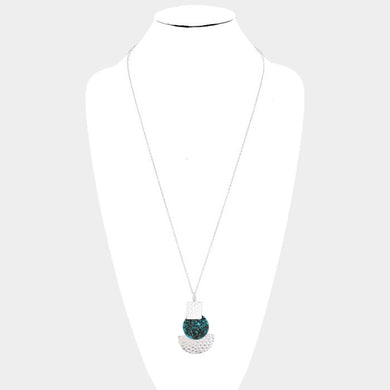 TRI RESIN & METAL NECKLACE SET (SILVER/AQUA,BLACK MARBLE)