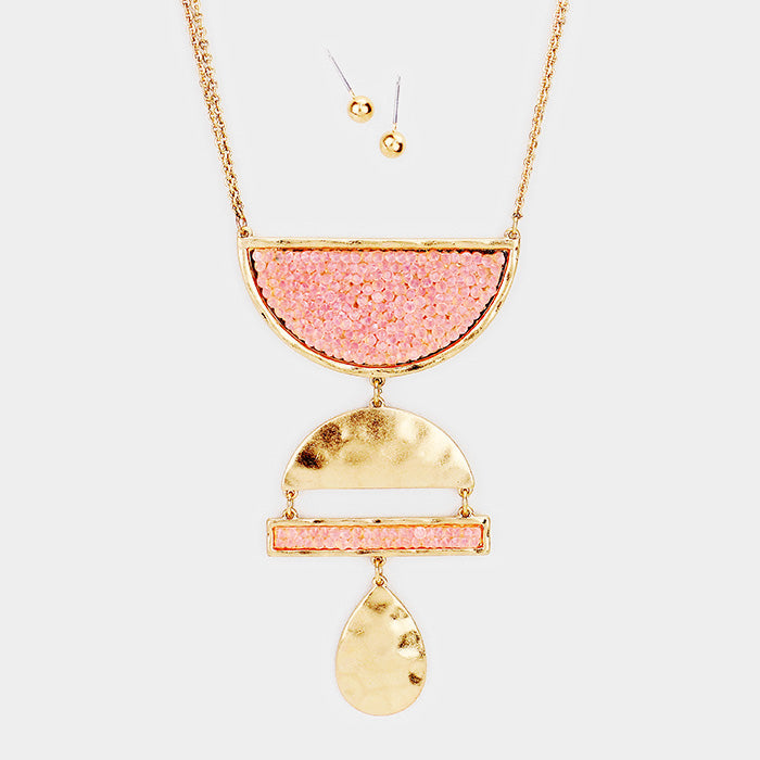 GEO PENDANT NECKLACE  SET PINK