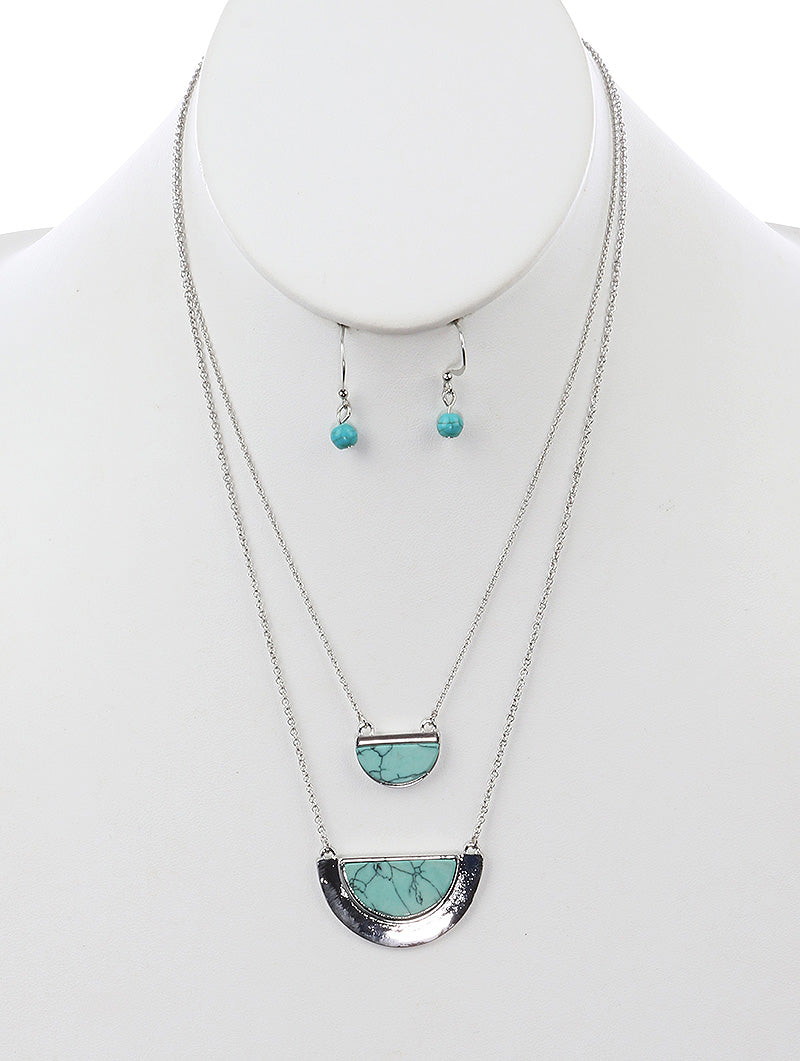 STONE LAYER NECKLACE (TURQUOISE)