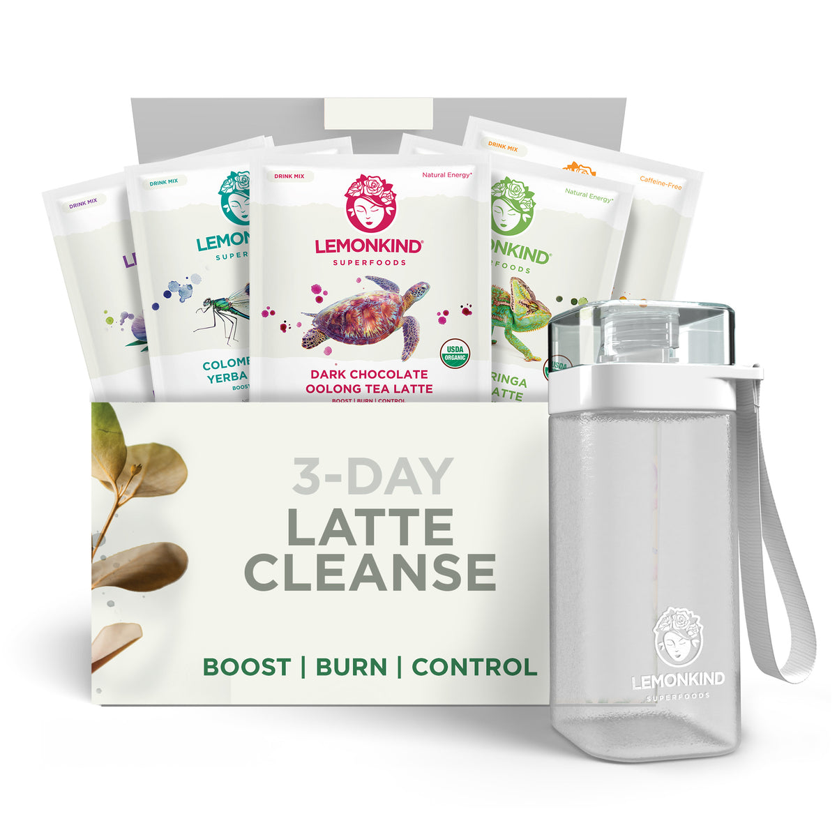 3 Day FAT-BURN Latte Cleanse, Vegan Meal Replacements (15 Lattes) + Bottle