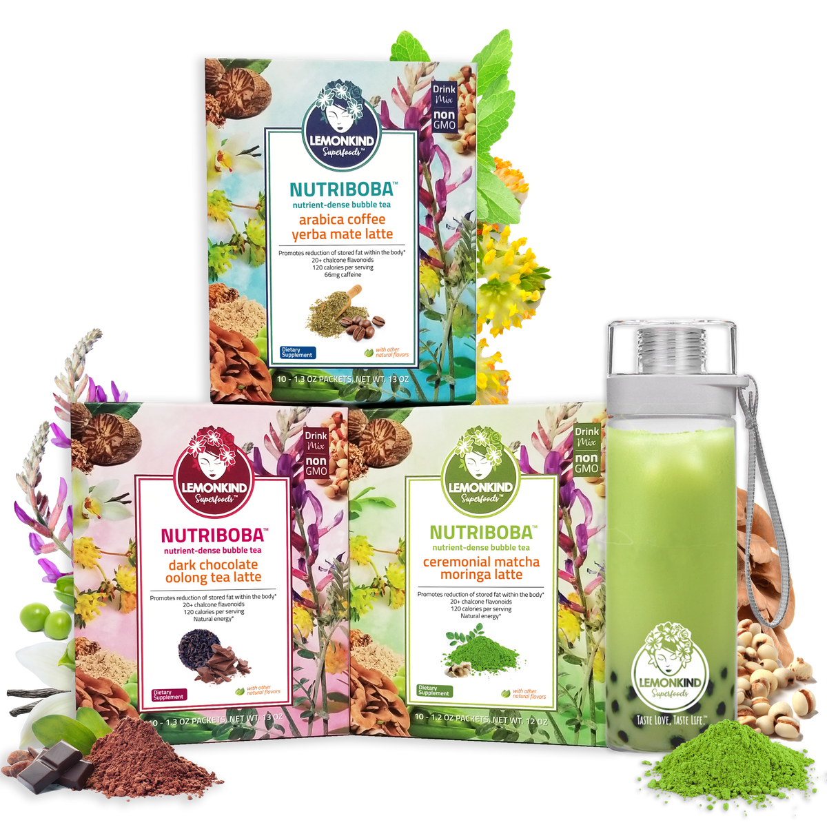 Nutriboba invigorate pack with dark chocolate oolong tea latte ceremonial matcha moringa latte arabica coffee yerba mate latte with tritan shaker with boba and matcha tea latte adaptogens chalcone flavonoids weight loss detox digestion adaptogens stress busting fat burning