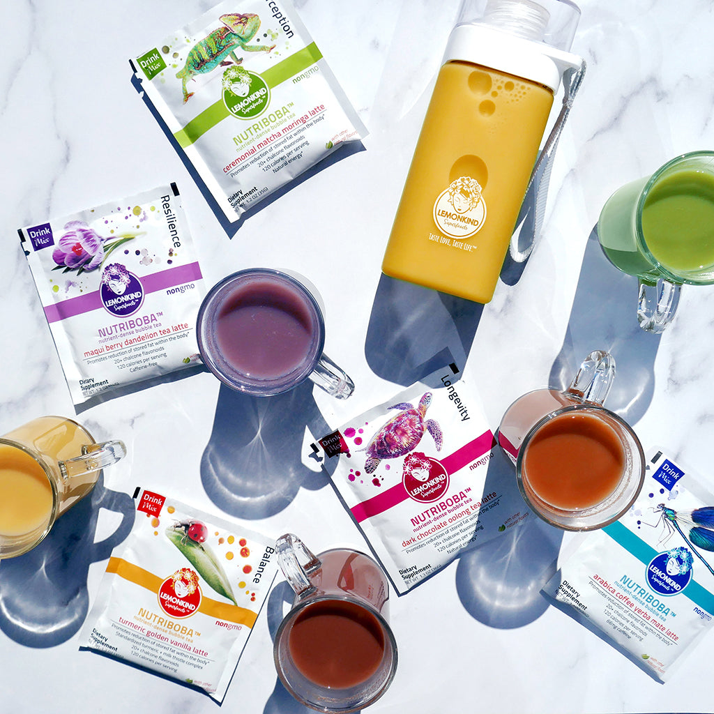 Lemonkind nutriboba superfood tea latte trial pack with tritan bottle maqui berry dandelion tea latte ceremonial matcha moringa tea latte dark chocolate oolong tea latte turmeric golden vanilla tea latte arabica coffee yerba mate tea latte adaptogens antioxidants chalcone flavonoids mushrooms