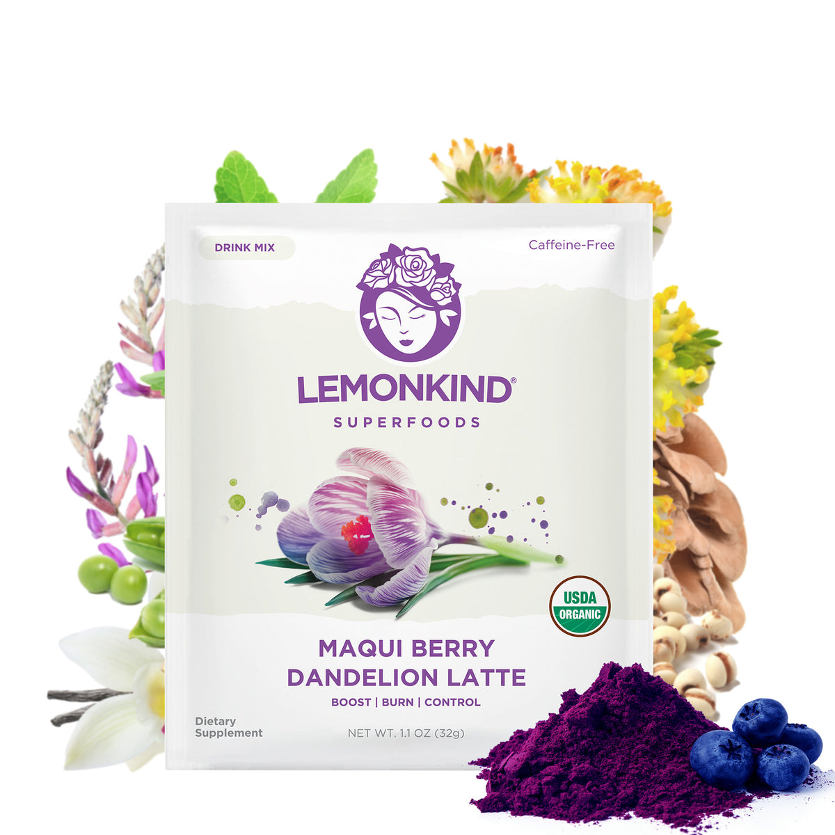 FAT-BURN Maqui Berry Dandelion Tea Latte - Antioxidant & Skin Beauty (10 Lattes)