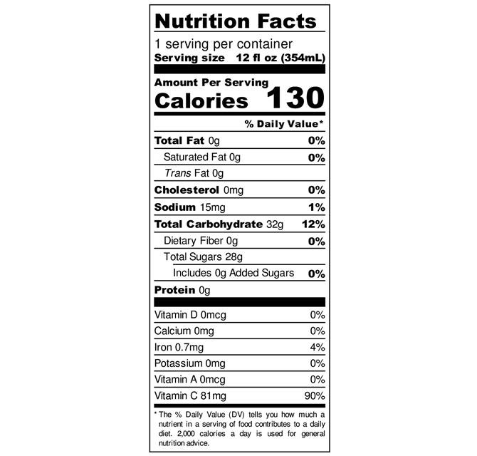 Nutritional labels for LemonKind Awareness Aronia Berry Lemonade