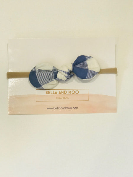 Bow Headband- Blue Plaid