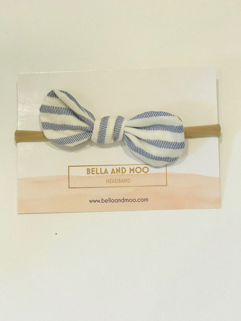 Bow Headband- Blue Sailor Stripe