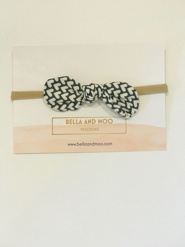 Bow Headband- Hearts in black