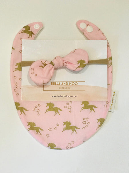 UNICORN Pink Metallic Bib & Bow Headband set