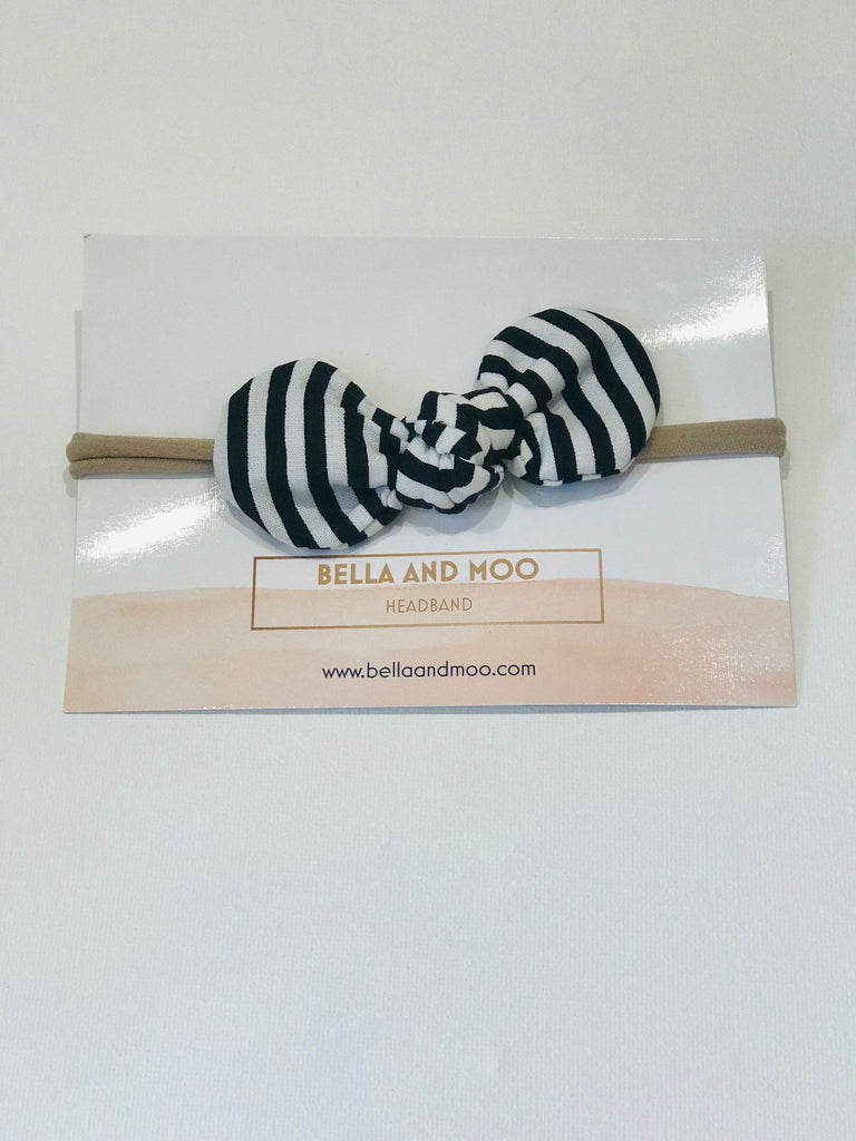 Bow Headband- Black and white thin Stripe