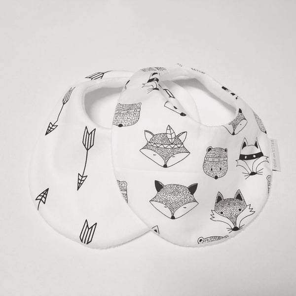 WILD ONE ANIMALS or WHITE WITH BLACK ARROW Bib
