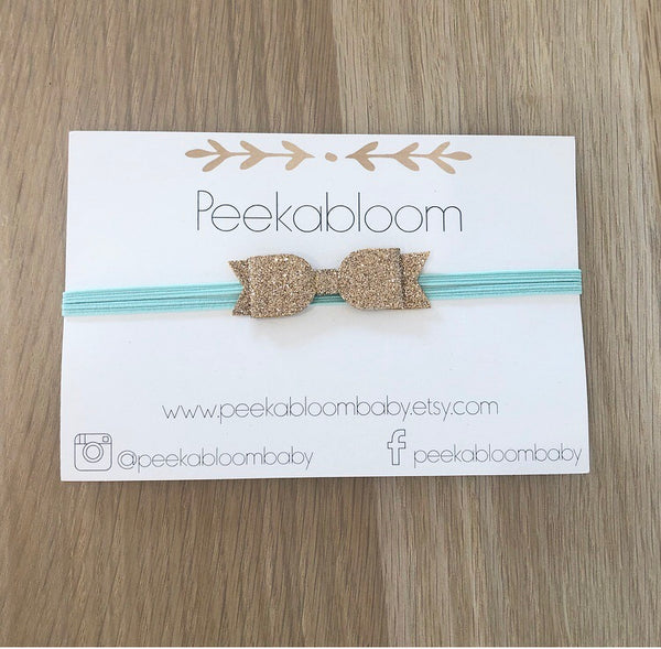 Gold Glitter on Aqua Leather Bow Headband