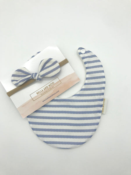 Sailor Stripe in Blue Bib & Bow Headband set