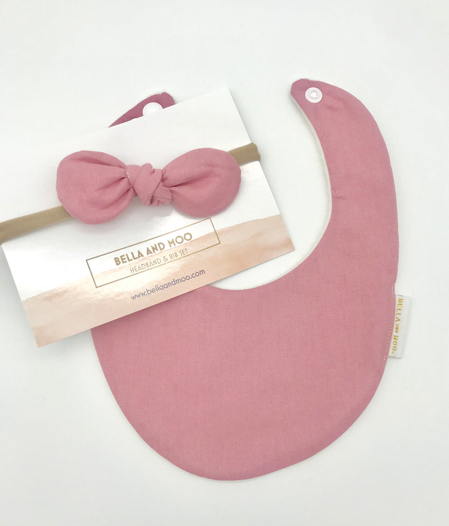 Dusty Pink Bib & Bow Headband set