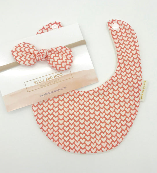 HEARTS Pink & White Bib & Bow Headband set