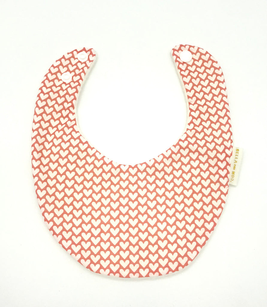 Hearts- Pink and white Bib