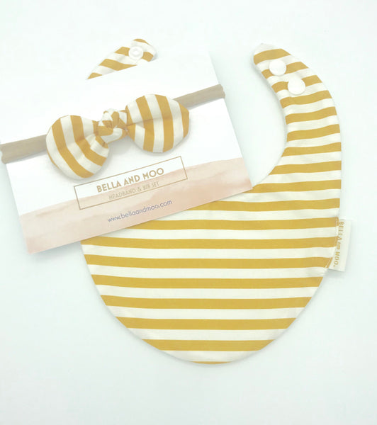 Mustard Stripe Bib & Bow Headband set
