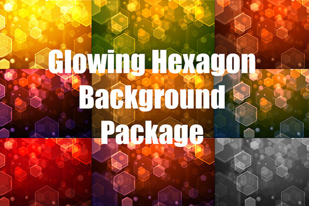 Glowing Hexagon Geometric Web Backgrounds Package