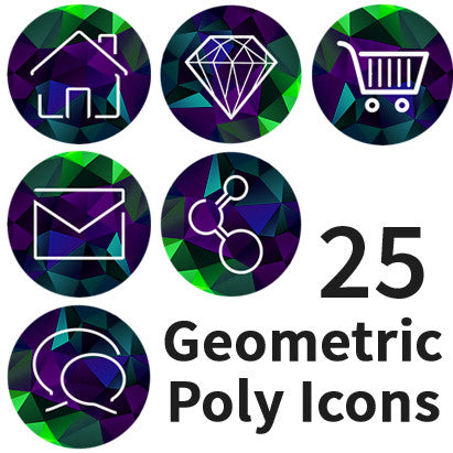 Poly Geometric Round Minimal Icon Set #2