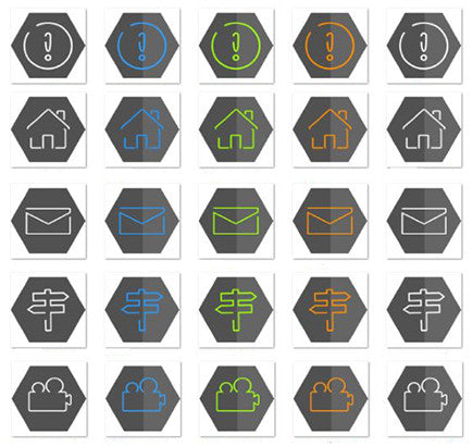 Minimal Grey Round & Hexagon Icons Set