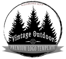 Retro Outdoor Pine Logo PSD Template