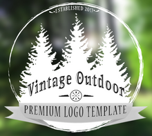 Retro Outdoor Pines Logo PSD Template For Sale