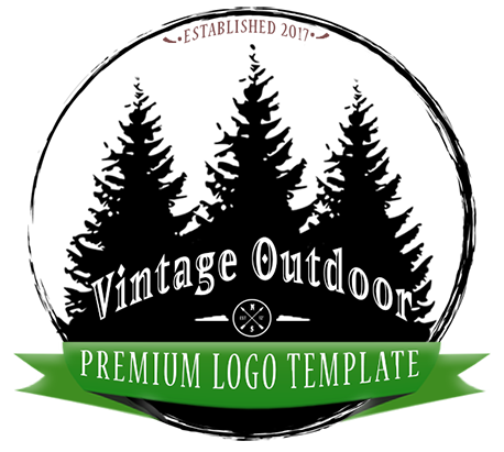 Retro Outdoor Pines Logo PSD Template