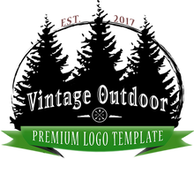 Retro Outdoor Pines Logo v2 PSD Template